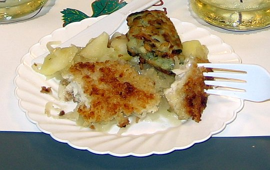 striped bass with sauerkraut
