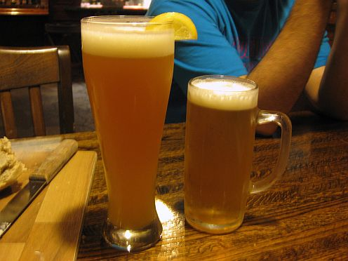 a hefe-weisen and pilsner