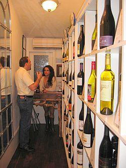 shelves of wine