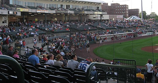 the stands at a baseball stadium