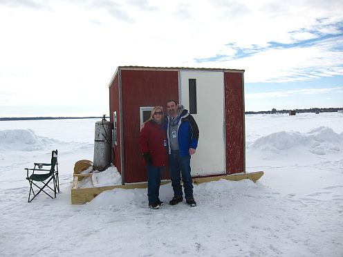 ice shanty used for ice fishing