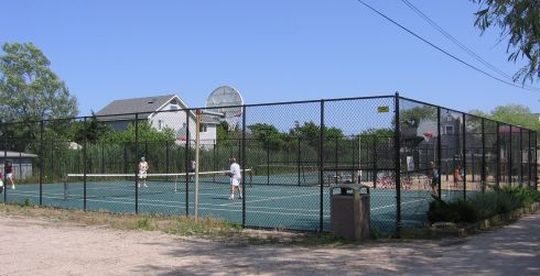 Fenced in tennis courts