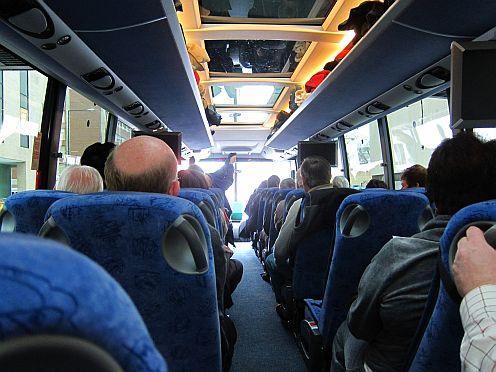 The inside of a bus.