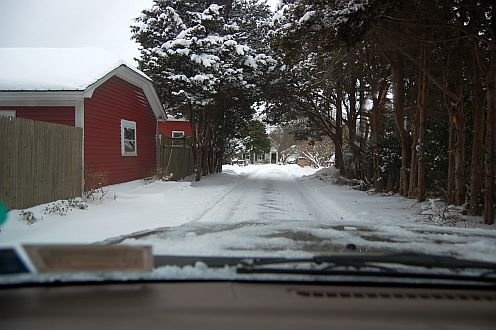 country road covered in snow
