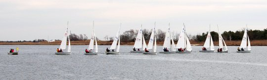small sailboats at the starting line
