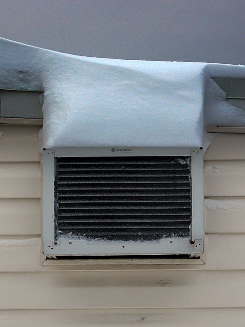 air conditioner covered with snow