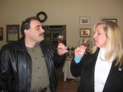 Tasting wine at Pugliese Vinyards