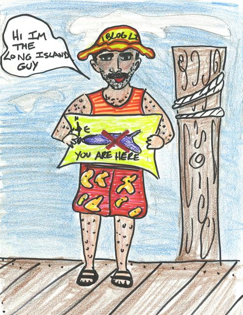 cartoon of man standing on a dock