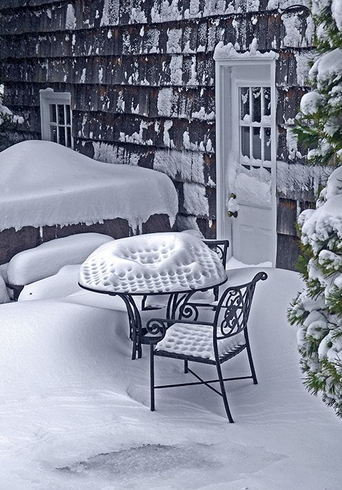 table covered with snow