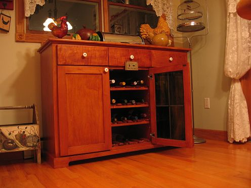 Cabinet with door open