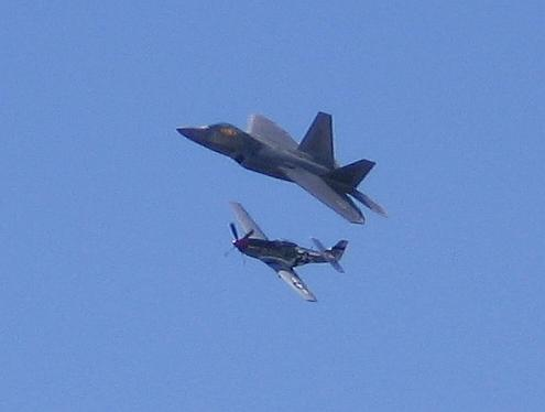 F-22 and a P51 Mustang