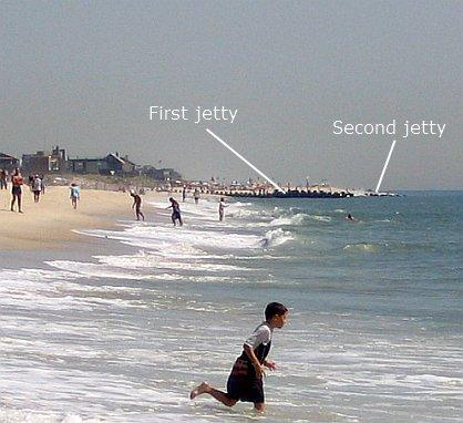 jetty, people on beach