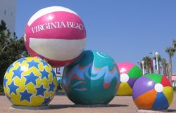 Beach ball sculpture at Virginia Beach