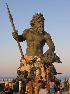 A giant statue of Neptune