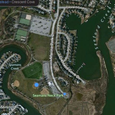 Bird's eye view of Seaman's Neck Park and the former marina.